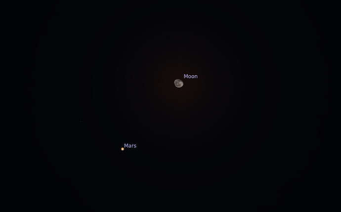 Conjunction of Moon and Mars
